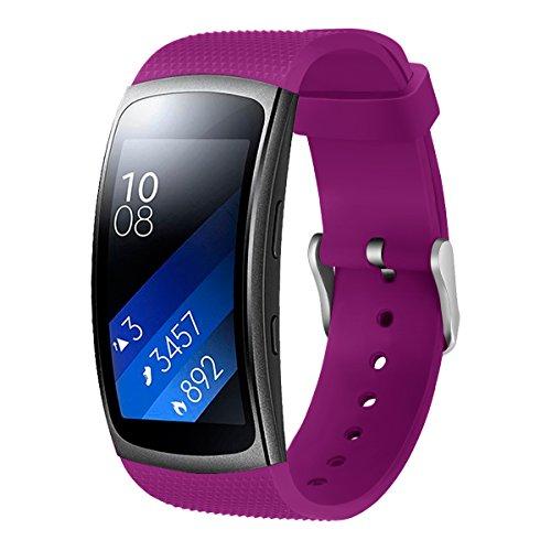 Aresh für Samsung Gear Fit 2 Zubehör uhrenarmband , weiche Silikon Ersatz Armband für Samsung Gear Fit 2 (lila)