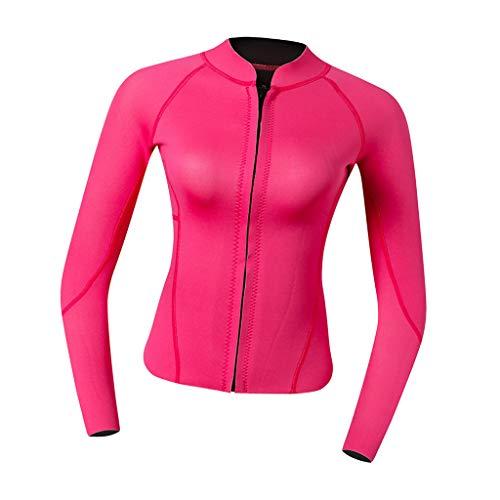 P Prettyia 2MM Neopren Damen Langarm Neoprenanzug Jacke Sonnenschutz Tauchanzug Surf Suit Schwimmanzug für Frauen - Rosa Rot, M