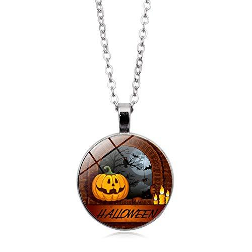 Blisfille Halloween Spukhaus Zeit Edelstein Halskette Anhänger Halskette Pullover Kette Herren Damen Alltag