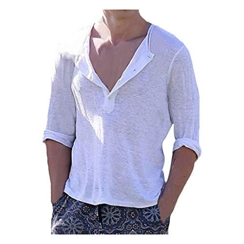 Skxinn Herren Oversize Langarmshirt V-Ausschnitt Langarm Longsleeve Einfarbig Shirts T-Shirt Hemd Tee Tops Casual Knopfleiste Lose fit Oberteile S-5XL(Weiß,XXXXX-Large)