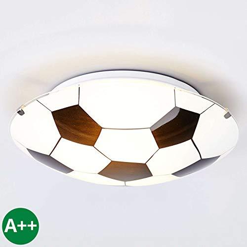 Lampenwelt Fußball Deckenleuchte 'Fußball' dimmbar (Modern) in Weiß aus Glas u.a. für Kinderzimmer (1 flammig, E27, A++) - Fußballdesign, Kinderlampe, Fußballlampe Kinder Deckenleuchte, Lampe