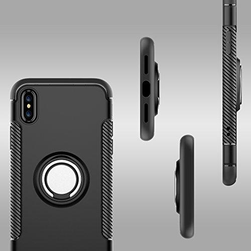 Uniqstore Coque pour téléphone pour Apple iphone X Case pour voiture Support magnétique Housse antichoc avec support de support d'anneau-rouge-or noir