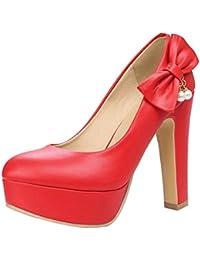 TAOFFEN Mujer Comodo Grueso Tacon Alto Plataforma Boca Baja Zapatos con Lado Bowknot