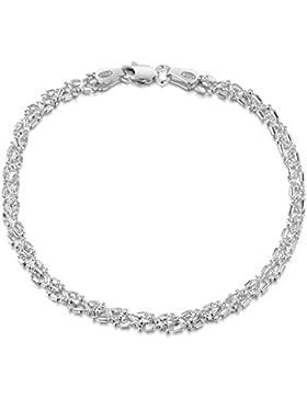 Amberta 925 Sterlingsilber Armkette - Diamantierte Kugelkette Armband - 3.5 mm Breite - Verschiedene Längen: 18...