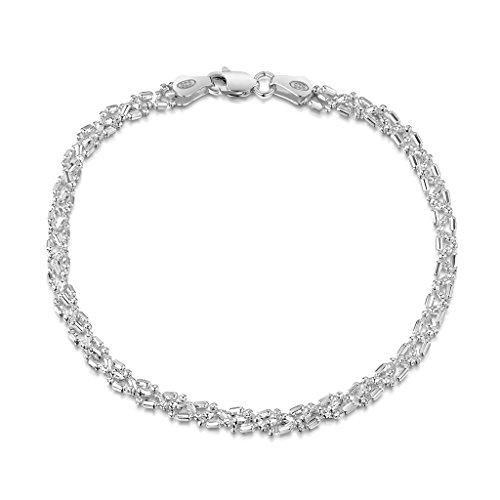 Amberta-Gioielli-Bracciale-Catenina-Argento-Sterling-925-Modello-Sfere-Diamantate-Larghezza-35-mm-Lunghezza-18-19-20-cm