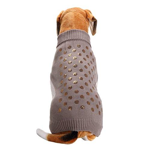 LvRao Klein Hunde Katzen Strickpullover Pulllover Rollkragen Sweater Leopard Weich Warme Haustier Kostüm Mantel (Grau Pailletten, M)