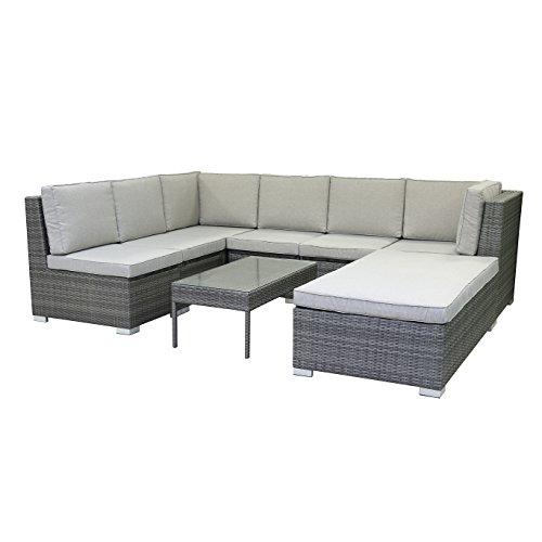 greemotion Loungeset Malibu grau bicolor, inklusive 15 Kissen, Eckbank mit Tisch für In- und Outdoor, Lounge mit Stauraum unter den Sitzflächen, Sitzelemente einfach umzustellen,