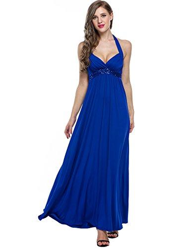 ZEARO Damen Paillette Elegant Abendkleid Cocktailkleid Partykleid Maxikleid Strandkleid Blau