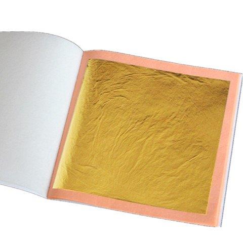100 Große Blattgoldplatten | Kunsthandwerk 24k Goldfarbendesign 85 mm große Größenkunstplatten
