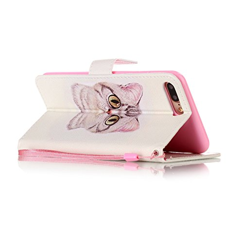 iPhone 7 Plus Hülle,iPhone 7 Plus 2016 Schutzhülle,JAWSEU Niedlich Lanyard/Strap Bookstyle Pink Elefant Muster Pu Ledertasche Magnetverschluss Handyhülle Wallet Brieftasche Etui Case Cover mit[Ständer Katze