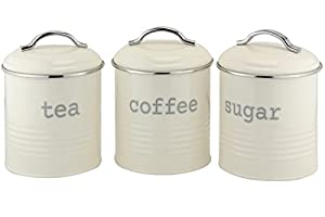 EHC Lot de 3hermétique Thé café sucre et boîte de conservation bocaux, crème