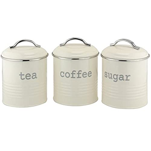 Ehc set of 3 airtight tea sugar and coffee storage canister jars cream