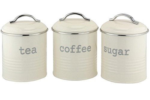 cream kitchen storage jars ehc set of 3 airtight tea sugar and coffee storage 6283