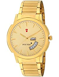 Swiss Trend Classy Golden Day And Date Analog Watch For Men - OLST2286
