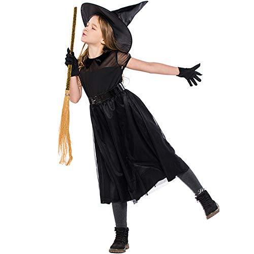 (ZIHENGUO Halloween-Mädchen Klassische Hexe Kostüm Rock Kleid, Einschließlich Hut und Gürtel, S/M / L,S)