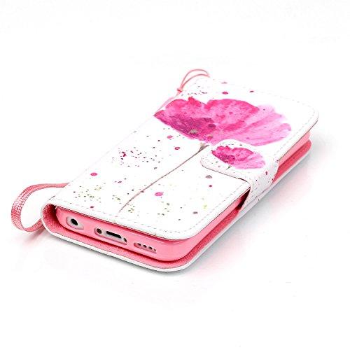 iPhone 5C Portefeuille Coque, Aeeque® Rétro Campanula Noir désign et Fermeture Aimant avec Titulaire de la Carte de Crédit Bookstyle Étui Housse en Cuir Case à rabat pour iPhone 5C Rouge Lotus