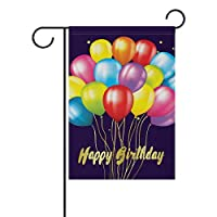 YATELI Decorative Colorful Balloons Happy Birthday Garden Yard Flag Banner for Party Double Side Print 40 x 28 & 12 x 18 Inch