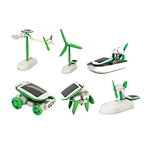Emob Educational 6 in 1 Solar Power Energy Robot Toy Kit, White/Green