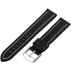 Hadley-Roma Men's MSM886RA-190 19-mm Black Genuine Shrunken Leather Watch Strap