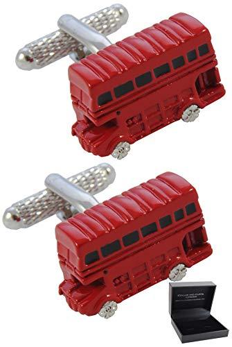 COLLAR AND CUFFS LONDON - HOCHWERTIGE Manschettenknöpfe mit Geschenk Box - Londoner Bus - England Britisch Klassisch Transport - Stilvolle Messing - Rot Farbe - Bus-boxen