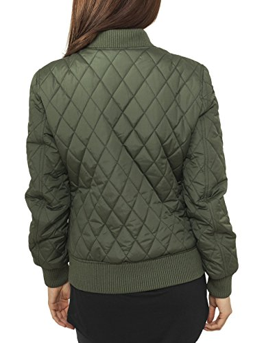 Urban Classics Damen Jacke Ladies Diamond Quilt Nylon Jacket Grün (olive 176)