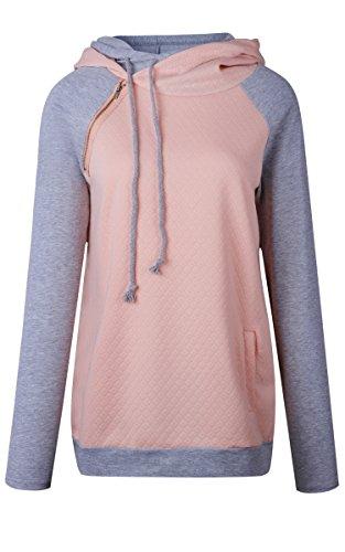 ECOWISH Damen Kontrastfarbe Pulli Pullover Rollkragen Sweatshirt Kapuzenpulli Top Hoodies Rosa M - 4
