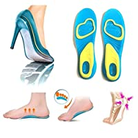 jianghang Effective Gel Silicone Men Women Insoles Work Walking Comfort Shock Absorption Healthy(None L Picture Color)
