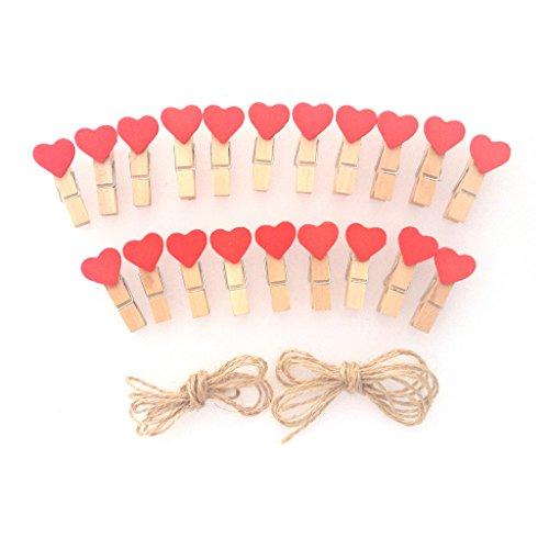 LWR Crafts - Mini mollette in legno e filo di iuta da 2,5 m, cuore rosso, 20 pezzi