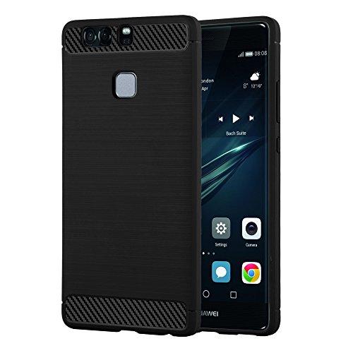 Preisvergleich Produktbild Cadorabo Hülle für Huawei P9 - Hülle in Brushed SCHWARZ – Handyhülle aus TPU Silikon in Edelstahl-Karbonfaser Optik - Silikonhülle Schutzhülle Ultra Slim Soft Back Cover Case Bumper