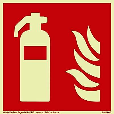 Schild Feuerlöscher Din EN ISO 7010 F001 | PVC nachleuchtend | Selbstklebend | 150x150mm (Symbolschild, Brandschutz) | Dreifke