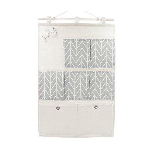 Anzirose organizer portaoggetti da appendere lino e cotone hanging storage bag con 2 gancio chiave 7 tasche - grigio
