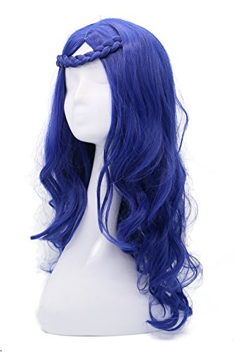 (Evie Perücke Film Cosplay Kostüm Blau Lang Lockig Wellig Haar Zubehör Merchandise)