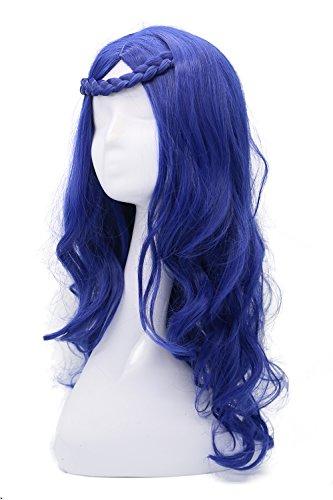 Evie Perücke Film Cosplay Kostüm Blau Lang Lockig Wellig Haar Zubehör (Evie Halloween Kostüm)