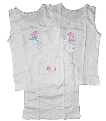 Peppa Pig - Lot De 3 Débardeurs Pour Les Enfants De 12-18m 18-24m 2-3 ans 3-4 ans - blanc, 18 - 24 mois