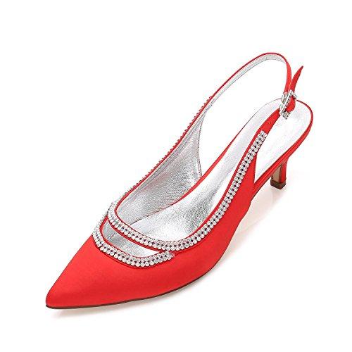 L@YC Scarpe Da Cerimonia Corte Da Donna Scarpe Da Sposa Pompe a Palloncino Stiletto Low Mid Kitten Tacco Taglia 3-8 Red