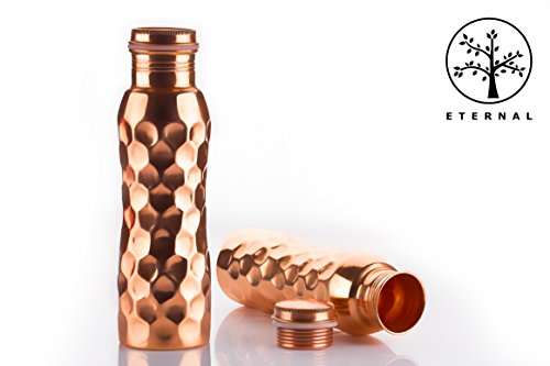 Eternal 100% Pure Premium 2018 Copper water bottle, 1000 ml , Long lasting, Leak Proof, Recyclable, Ergonomic Design - Diamond Hammered, Lacquer Coated External
