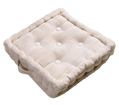 Homescapes cojín acolchado para suelo, relleno de poliéster y tapizado al 100% en algodón, color Natural 40 x 40 x 10 cm