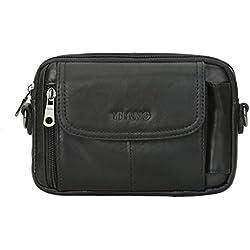 Leathario Bolso Cinturón de Cuero Riñonera para Hombre-Pequeña Bolsa de bandorela-Funda para 4~6 Pulgada Phone (Negro 09)