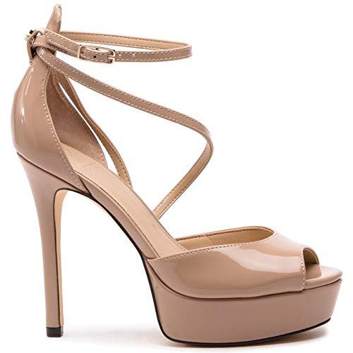 Guess Scarpe Sandalo Opentoe LOHANA TC 120 PL 30 Laminato Rosa Nude Donna DS19GU23