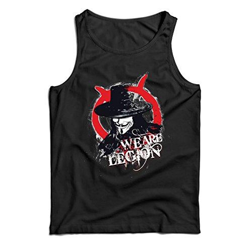 lepni.me Camisetas de Tirantes para Hombre Somos legión - Vendetta - La máscara del anónimo (XXXX-Large Negro