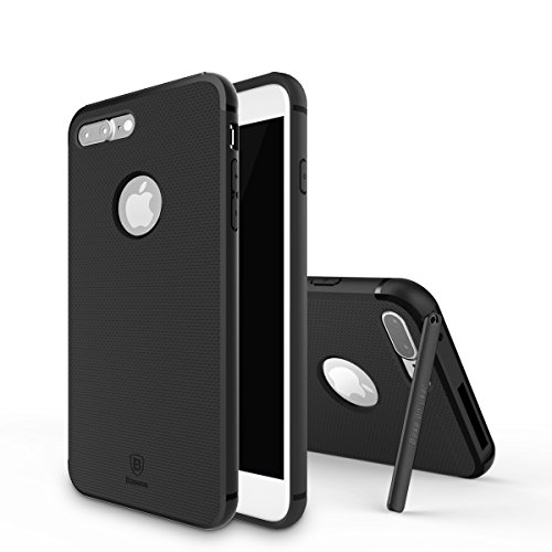 iPhone 7 Plus Custodia, IVSO Ultra Sottile Silicone Protettiva Case Cover Custodia con auto stand per Apple iPhone 7 Plus (Nero)