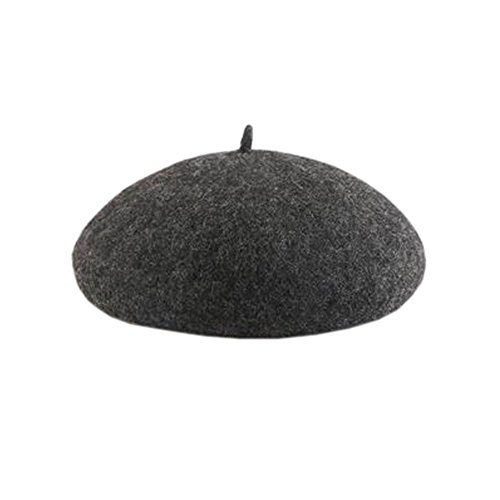 Frau Herbst Winter Solid Color Berets Hut Einfache modische Kuppel Hut, Dunkelgrau