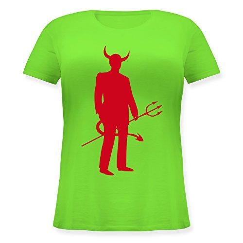Pet Teufel Kostüm - Halloween - Teufel - S (44) - Hellgrün - JHK601 - Lockeres Damen-Shirt in großen Größen mit Rundhalsausschnitt