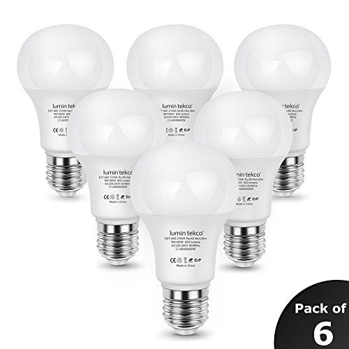 Bombillas LED E27 A60, Lumin Tekco Edison Globo Luz blanco calido 2700K 9W Equivalente a 60W, A60 820LM, Ángulo de haz de 220 grados, No Regulable, Pack de 6 Unidades