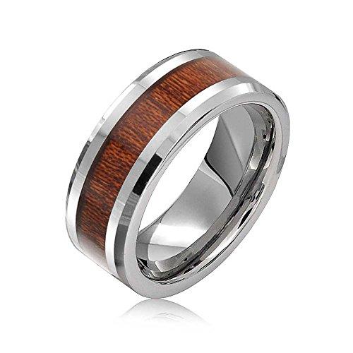 Bling Jewelry Koa Holz Inlay Ehering Ringe Tungsten Ringe Für Herren Für Damen Silber Ton Comfort Fit 8MM