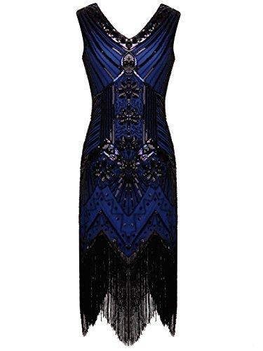 FAIRY COUPLE 1920 Flapper Doppelte V-Ausschnitt Pailletten Strass verschönert fransen Kleid D20S003(L,Marineblau)