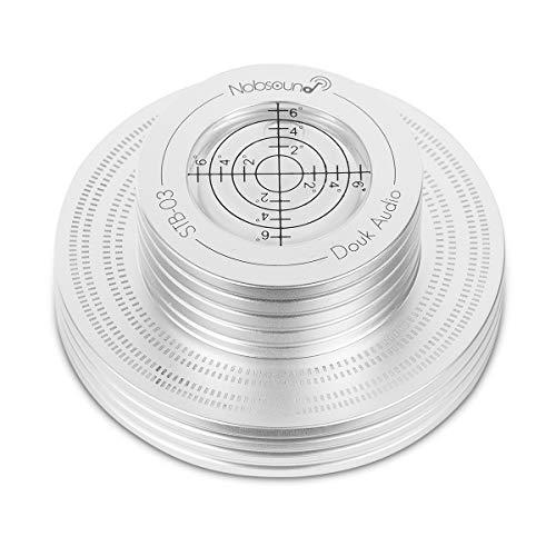 Nobsound Plattenspieler-Stabilizer Aluminum Record Weight LP Vinyl Turntable Disc Stabilizer Bubble Level (Silver) -