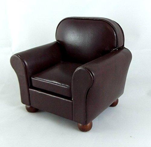Preisvergleich Produktbild Puppenhaus Miniatur Wohnzimmer Möbel Braunes Leder Sessel Club Stuhl