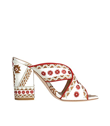 ASH Damen Sandale mit gemustertem Stoffüberzug creme White/Coral