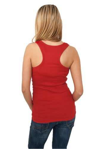 URBAN CLASSICS Ladies Button Tanktop, red Red